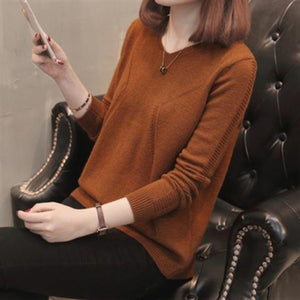 Fashion Back Button V-Neck Sweater Autumn Solid Knitted Pullover Women Slim Soft Jumper Sweater Pink Kawaii Sweaters Girl