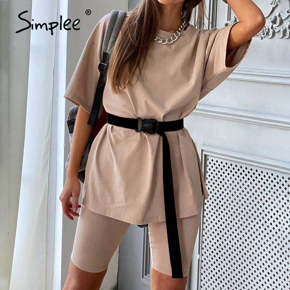 Simplee Casual solid outfits women's two piece suit with belt - HYM Store