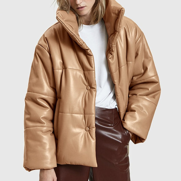 2020 Solid PU LeatherDown Parkas Women Fashion High Imitation Leather Coats Women Elegant Thick Cotton Jackets Female Ladies C19