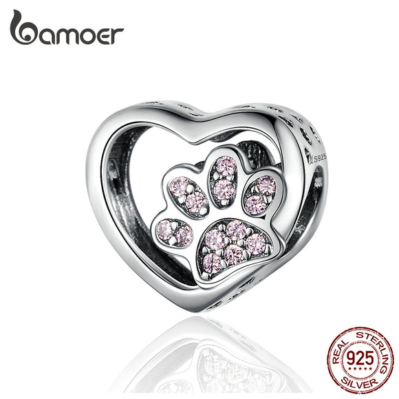 BAMOER Cat Love Heart-shape Charm 925 Sterling Silver Paw Footprints Heart Charms - HYM Store