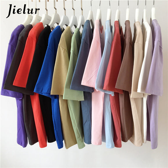 Tee Shirt 15 Solid Color Basic T Shirt Women Casual O-neck
