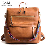 Retro Large Backpack Women PU Leather Rucksack Knapsack Travel Backpacks Shoulder School Bags - HYM Store