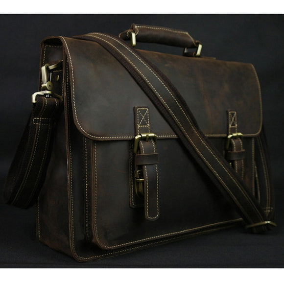 Vintage Crazy Horse Leather Men's Briefcase Laptop Bag Business Bag Genuine Leather - HYM Store