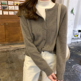 Vintage Cardigan Women Sweater Korean Short Coat 2020 Fall Soft Cashmere Loose Knitted O-Neck Winter Streetwear Single Breasted