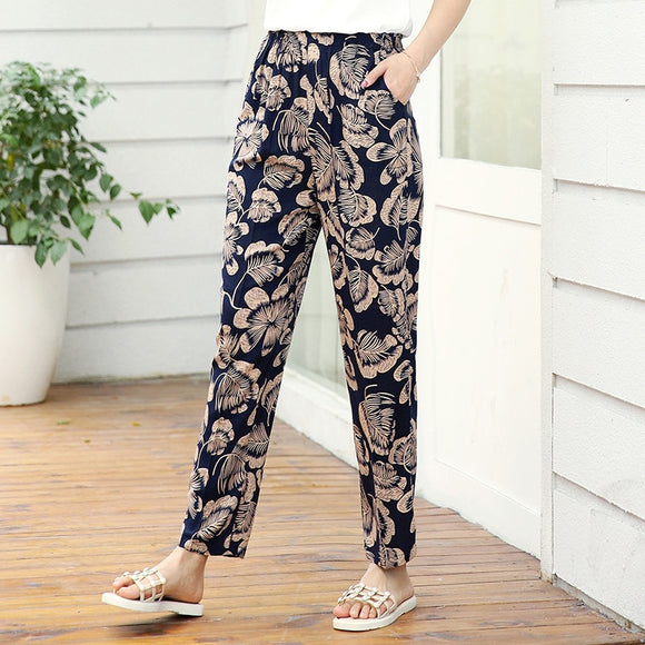 22 Colors 2020 Women Summer Casual Pencil Pants XL-5XL Plus Size High Waist Pants Printed Elastic Waist Middle Aged Women Pants
