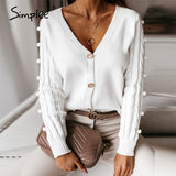 Simplee Sexy v-neck knitted women cardigan Casual solid white long sleeve sweater cardigan Elegant autumn ladies sweater tops