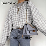 BerryGo women geometric khaki knitted sweater women casual Houndstooth lady pullover sweater female Autumn winter retro jumper