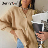 BerryGo Casual v-neck knitted kimono cardigan women Autumn winter lantern sleeve button female cardigan 2020 Streetwear sweaters
