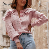 Simplee vintage woolen loose  short cardigan Women  long sleeve shoulder ruffled cardigan Basic roseate  autumn sweaters 2020