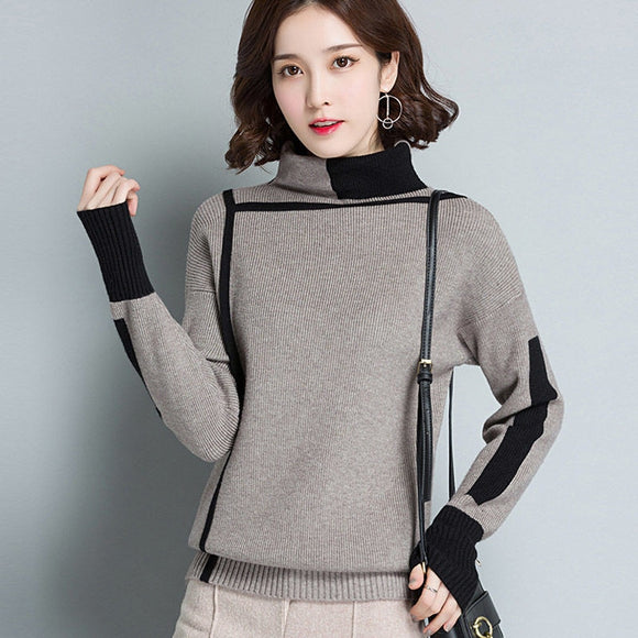 Women Turtleneck Sweater Long Sleeve Jumpers Knitwear Casual Autumn winter Pullovers Femme Elastic high quality Knitted sweaters