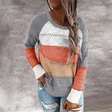 Autumn Women Casual Loose Hooded Pullovers Tops V Neck Knitted Long Sleeve Sweater Patchwork Elegant  Striped Pullover Jumpers