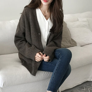 Women Vintage Cardigan V neck 2020 Sweater Fall Soft Cotton Knit Hot Tide  Korean Casual Simple Solid color  Fashion Jacket