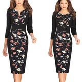 Vfemage Womens Front Zipper Floral Striped Autumn Winter Slim Wear to Work Business Office Party Sheath Bodycon Pencil Dress 671