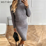 WOTWOY Knitted Turtleneck Sweater and Skirts 2 Piece Sets Women Autumn Winter Two Piece Costumes Women Solid Jumpers Suits Skirt