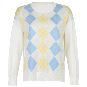 HEYounGIRL White Casual Plaid Argyle Sweater Ladies Y2K Preppy Style Vinage Knit Jumper Women Antumn Winter Pullover Knitwear