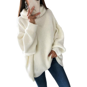 Turtleneck Long Sleeve Sweater Dress Women Autumn Winter Loose Tunic Knit Pullovers Sweater Casual Knitted Dresses