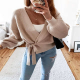 Woman Sweaters Cardigan Coat 2020 Casual V-Neck Lace-up Knit Sweater Mujer Suéteres Kobieta Swetry Pull Femme женские свитера