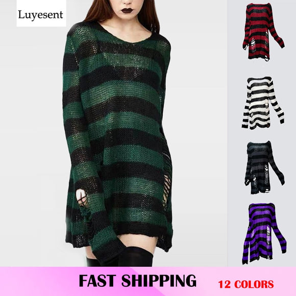 Plus Size Punk Gothic Long Unisex Sweater Dress Women Man Striped Cool Hollow Out Hole Broken Jumper Loose Rock Thin Sweter 2021