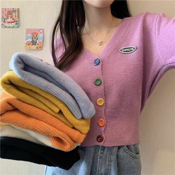 New Korean Sweet Cardigan Sweater Women Single Breasted V-neck Long-sleeved Knitted Jacket S-4XL Short Cardigan 6 colors