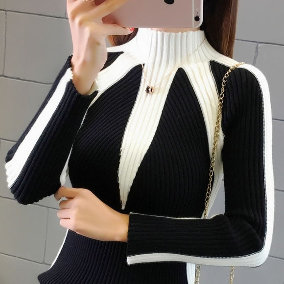 Half-high Collar Sweater Autumn Winter Thickened Female Long-sleeved Stretch Sweater Korean Striped Stitching Bottoming Sweater