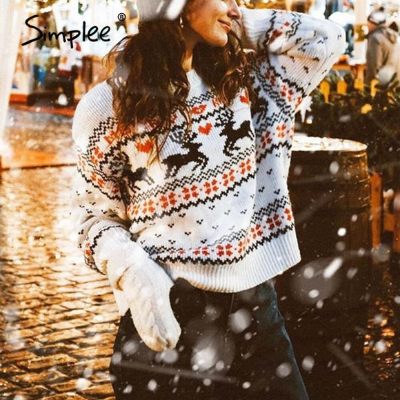 Simplee O-neck Fashion Christmas sweaters women long sleeve Autumn winter deer print knitted female pullover Chic ladies sweater