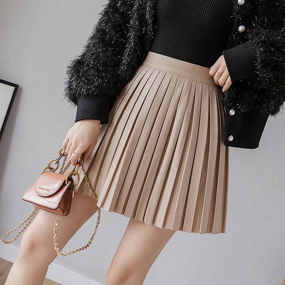 2020 Spring Autumn Pleated Skirt High Waist PU Mini Skirt Women's Fashion Slim Waist Casual Sweet Girls Skirts Free Shipping