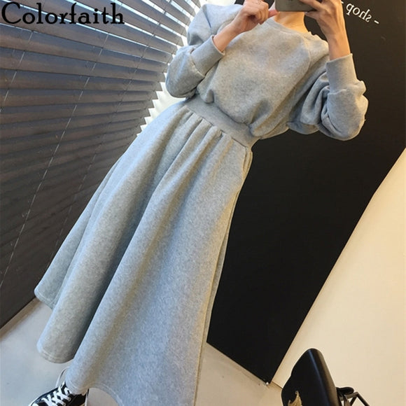 Colorfaith New 2021 Winter Spring Women Dresses Thicken High Elastic Waist Casual Long Minimalist Pockets Wild Warm Dress DR1248