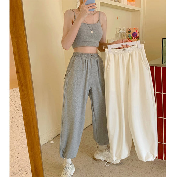 Woman Loose Sweatpants Harajuku Joggers Grey High Waist Pants Comfort Simple Basic Casual Fashion Trousers 2020 Korean Sport New