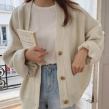 Colorfaith New 2021 Winter Spring Women's Sweaters V-Neck Buttons Cardigans Oversize Fashionable Korean Lady Knitwears SWC18190