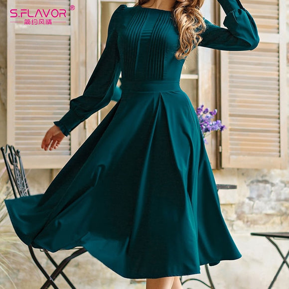 S.FLAVOR Women VIntage Solid Color Spring Dress Elegant Green Long Sleeve Pleated Midi Vestidos 2021 Summer Women Casual Dresses