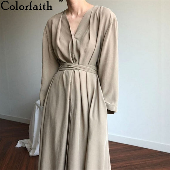 Colorfaith New 2021 Women Spring Summer Dresses Lace Up Casual Buttons Fashionable V-neck Vintage Oversize Long Dress DR1150