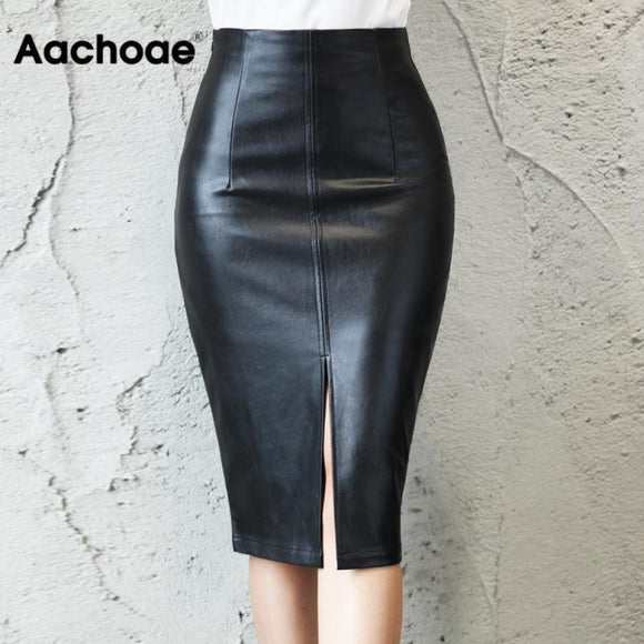 Aachoae Black PU Leather Skirt Women 2020 New Midi Sexy High Waist Bodycon Split Skirt Office Pencil Skirt Knee Length Plus Size