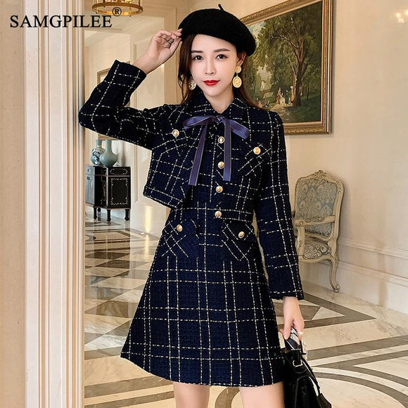 Blue Plaid Tweed Wool Short Jacket + Sleeveless Vest Dress Suit 2021 Winter Women's Bow Pocket Jacket Set Ladies 2-Piece Dress
