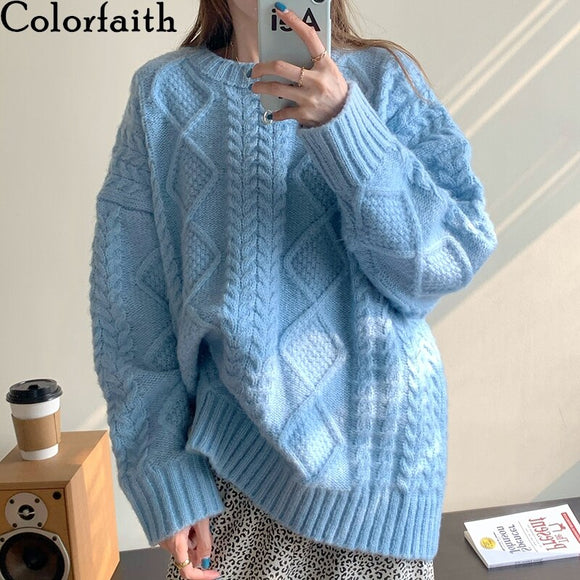 Colorfaith New 2020 Autumn Winter Women's Sweaters Warm Pullovers Oversize Harajuku Minimalist Knitted Vintage Lady Tops SW8316