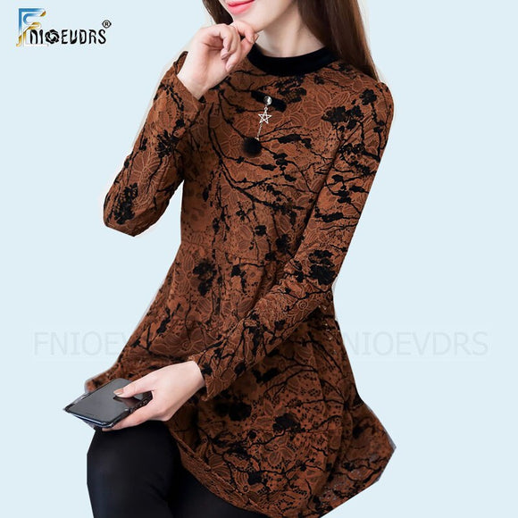 Tunic Tops Women Hollow Out Elegant Office Lady Work Brown Black Floral Print Vintage Lace Peplum Top Blouse Shirt blusas