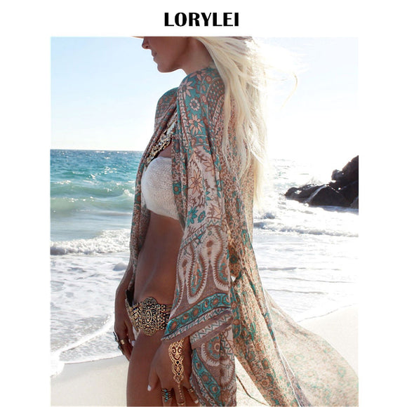 Bohemian Printed Ankle Length Beach Cover Up Plus Size Women Summer Beachwear - HYM Store