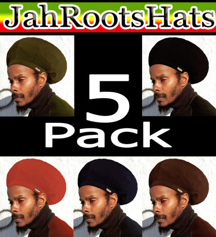 Jah Roots Stretch Hats 5 Pack (Olive, Black, Red, Navy, & Brown)