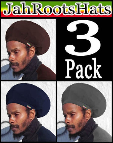 Jah Roots Stretch Hats 3 Pack (Brown, Navy, & Gray)
