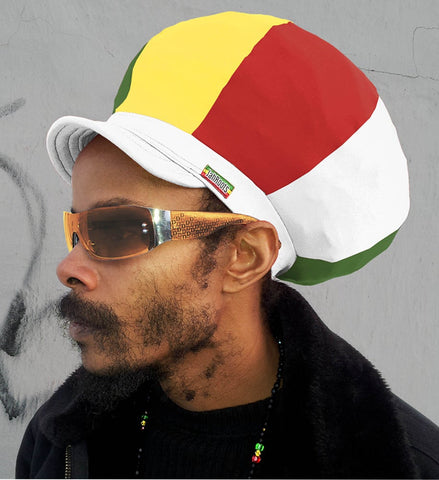 Jah Roots Stretch Hats With Beak (Ital-White, Yellow, Red, & Green)