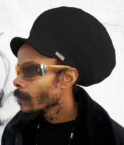 Jah Roots Stretch Hats With Beak (Black)