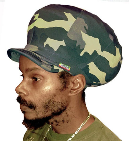 Jah Roots Stretch Hats With Beak (Camo)