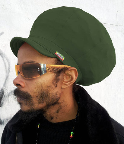 Jah Roots Stretch Hats With Beak (Forest Green)