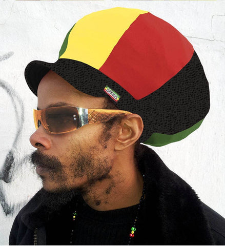 Jah Roots Stretch Hats With Beak (Ital-Black Snake Skin, Yellow, Red, & Green)