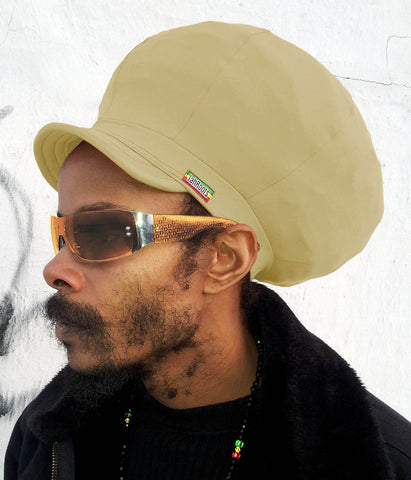 Jah Roots Stretch Hats With Beak (Khaki)