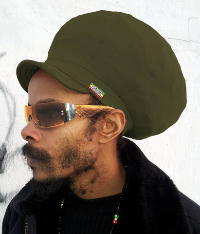 Jah Roots Stretch Hats With Beak (Olive)