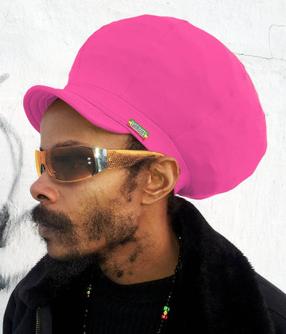 Jah Roots Stretch Hats With Beak (Pink)