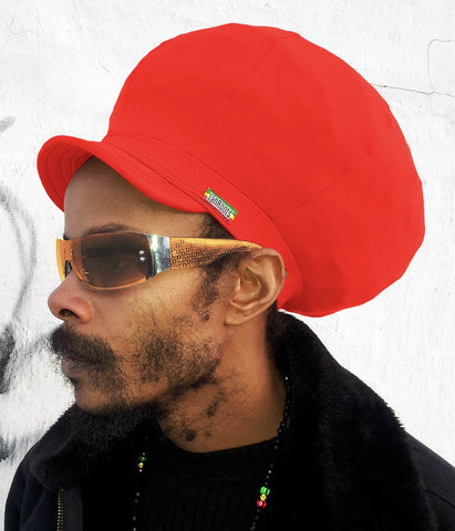 Jah Roots Stretch Hats With Beak (Red)