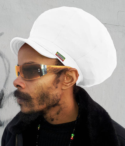Jah Roots Stretch Hats With Beak (White)