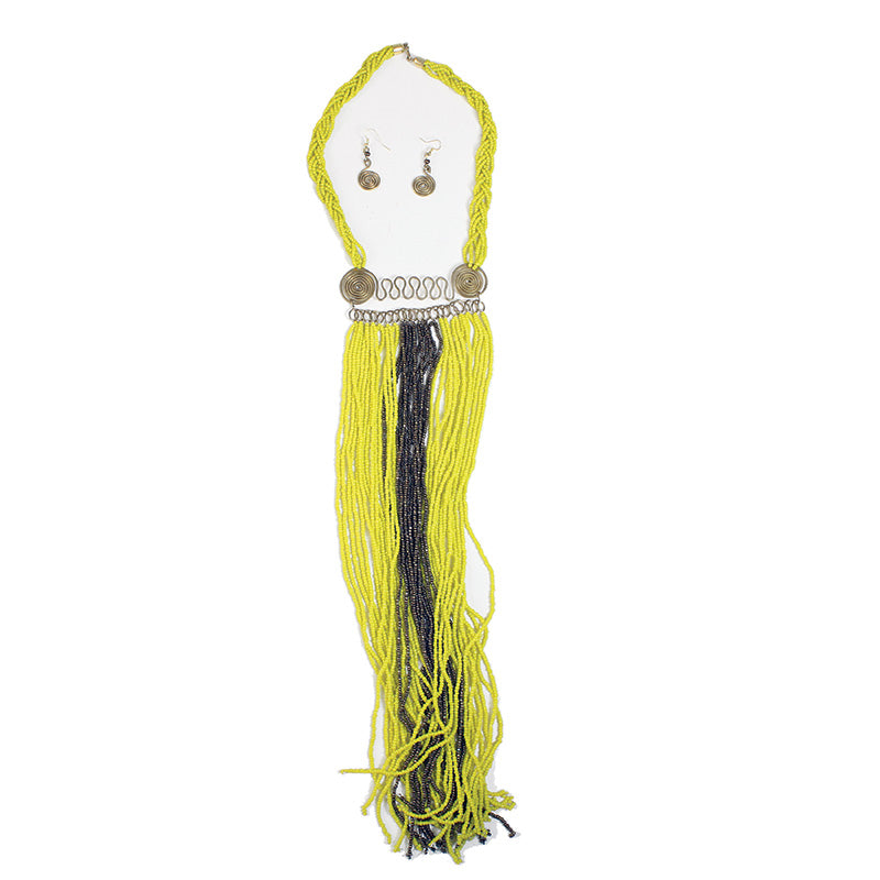 Yellow and Black Fringe Necklace