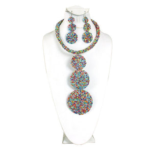 Beaded Circle-Drop Necklace Set - Multi